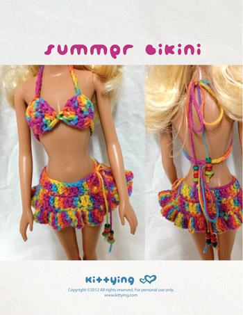 db6b3939eb Barbie Doll Summer Bikini Crochet PATTERN by Crochet Pattern Kittying from  Kittying.com