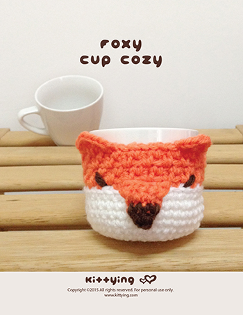 Foxy Fruit And Cup Cozy Crochet Pattern Kittying Crochet Pattern