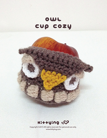 Crochet Pattern Owl Apple Cozy And Owl Cup Cozy Kittying Crochet
