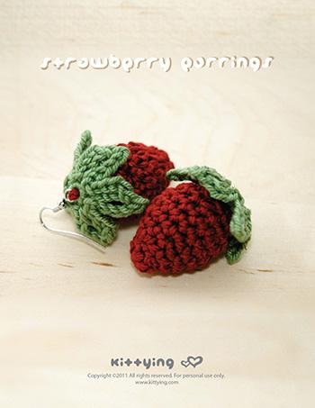 Crochet Strawberry Earrings Pattern Kittying Crochet Pattern