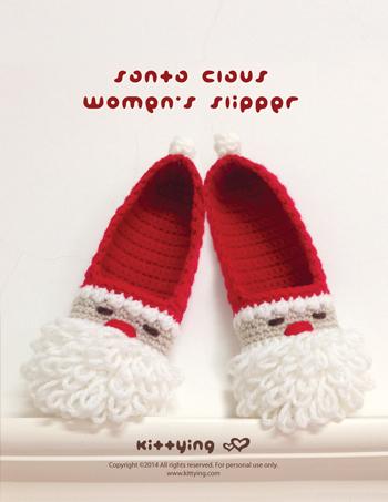 2ac2799f319aa Crochet Pattern Santa Claus Women's Slipper for Christmas Winter Holiday