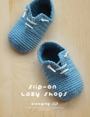 Slip-On Baby Lazy Shoes Crochet PATTERN by Crochet Pattern Kittying from Kittying.com